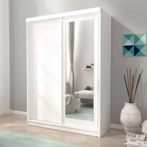 """ארון הזזה 150 ס""""מ עם דלת משולבת מראה תוצרת אירופה דגם אלסקה"""