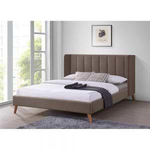 מיטה זוגית מרופדת בד עם רגלי עץ דגם אלמוג