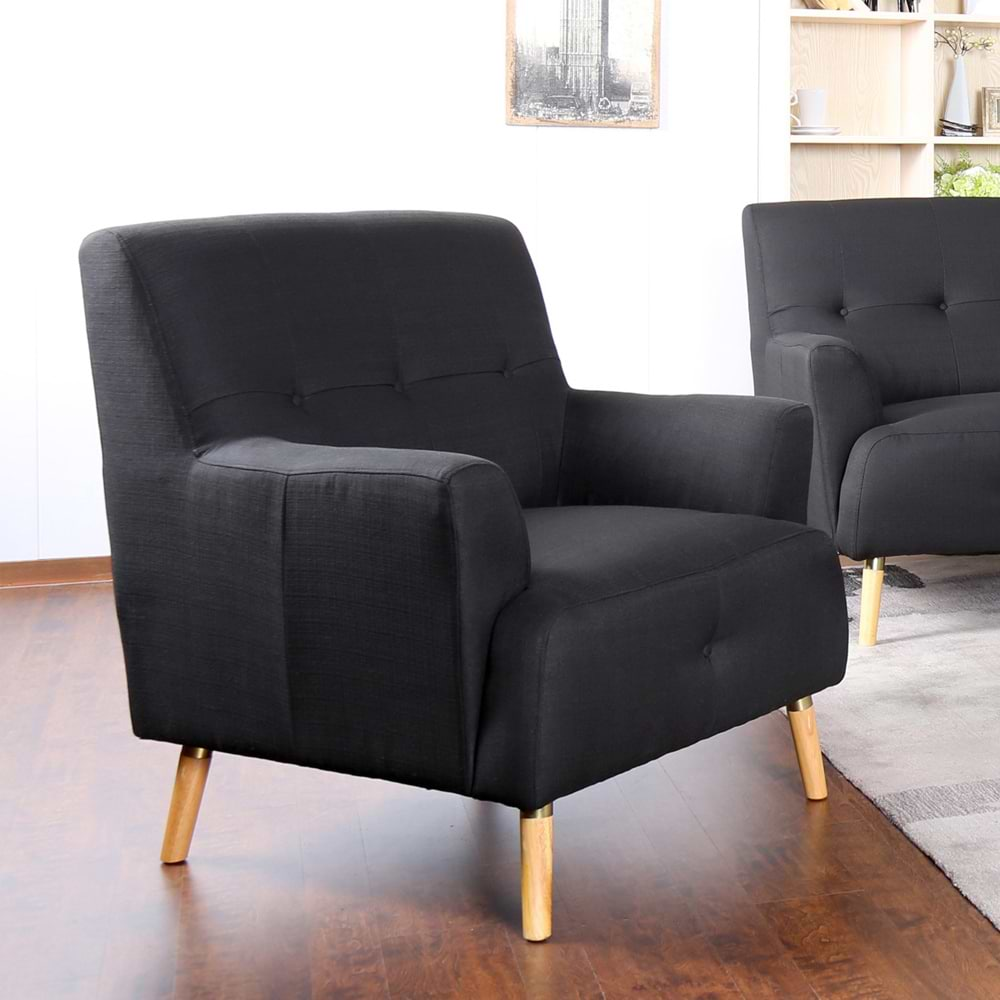 כורסא מעוצבת מבד שחור black-1000