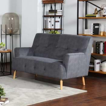 ספה דו מושבית נוחה בעיצוב רטרו מרופדת בד רחיץ דגם דניאל-דו