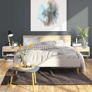 מיטה זוגית מעוצבת עם 2 שידות לילה תואמות תוצרת אירופה דגם דלתא