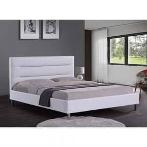מיטה זוגית מעוצבת 140×190 בריפוד דמוי עור דגם פאן