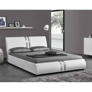 מיטה זוגית מעוצבת 140×190 בריפוד דמוי עור דגם גלי