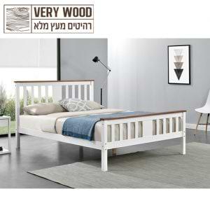 מיטה זוגית 140×190 מעץ מלא בעיצוב קלאסי דגם גולדי