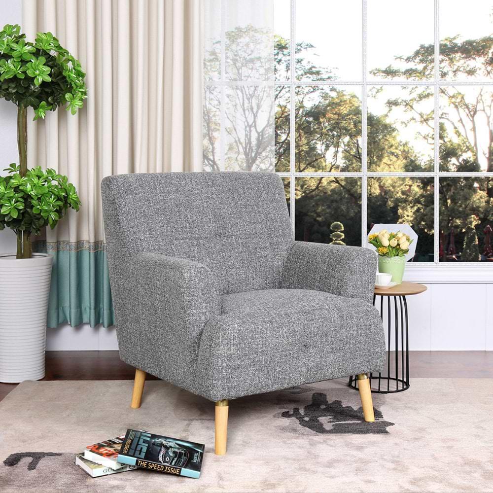 כורסא מעוצבת מבד אפור grey-1000