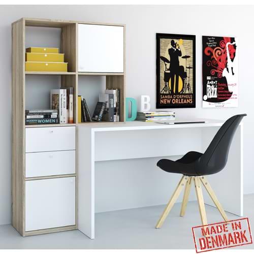 עמדת עבודה עם שולחן כתיבה וספרייה דגם קרלו