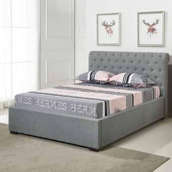 מיטה זוגית 140×190 מעוצבת בריפוד בד עם ארגז מצעים מעץ דגם קיםם