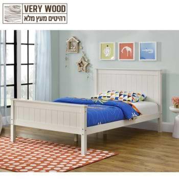מיטה רחבה לנוער עשויה עץ מלא מסדרת VERY WOOD דגם לינור 120