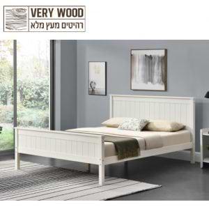 מיטה זוגית 160×200 מעץ מלא בעיצוב קלאסי דגם לינור 160