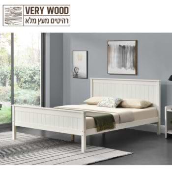 מיטה זוגית 140×190 מעץ מלא בעיצוב קלאסי דגם לינור 140