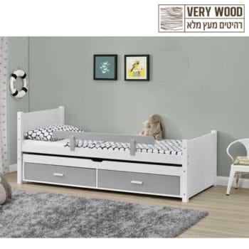 מיטת ילדים מעץ מלא עם מיטת חבר נשלפת מסדרת VERY WOOD דגם ליאור
