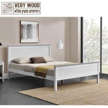 מיטה זוגית 160×200 מעץ מלא בעיצוב קלאסי דגם ליטל 160