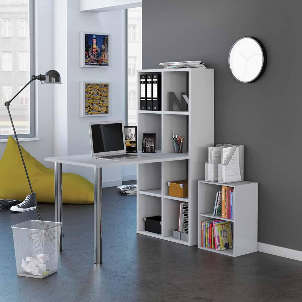 שולחן כתיבה משולב כוורת לבן lux-1000