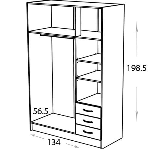 ארון 3 דלתות עם אחסון magnum-500d