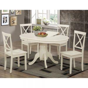 פינת אוכל עגולה נפתחת מעץ מלא משולב כוללת שולחן ו-4 כסאות דגם מאי