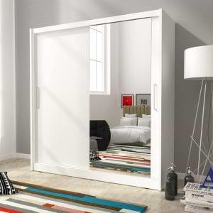 """ארון הזזה 180 ס""""מ עם דלת מראה תוצרת אירופה דגם מריל 180"""