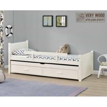 מיטת ילדים מעץ מלא עם מיטת חבר נשלפת מסדרת VERY WOOD דגם נוי