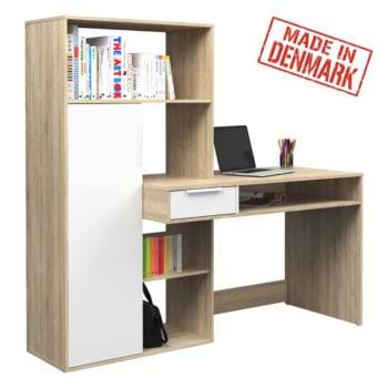 עמדת עבודה עם שולחן כתיבה וספרייה תוצרת דנמרק דגם אופק