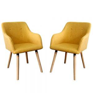 זוג כיסאות מעוצבים עם רגלי עץ מלא דגם עופר