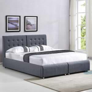 מיטה זוגית בריפוד בד עם הפרדה יהודית וארגזי מצעים דגם אופירה