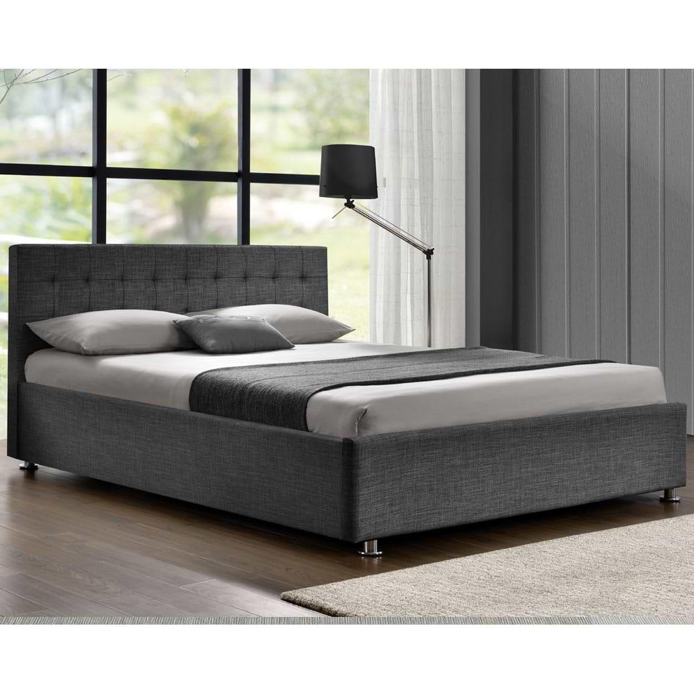 מיטה זוגית מרופדת מבד אפור ofra-1000