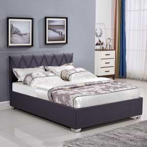 מיטה זוגית 160×200 מעוצבת בריפוד בד עם ארגז מצעים דגם אוליבר