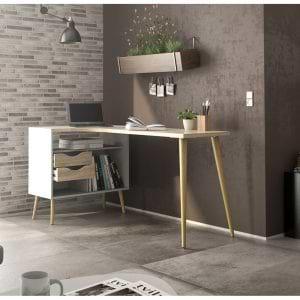 שולחן כתיבה מעוצב רטרו עם שידת אחסון תוצרת דנמרק דגם אוסלו