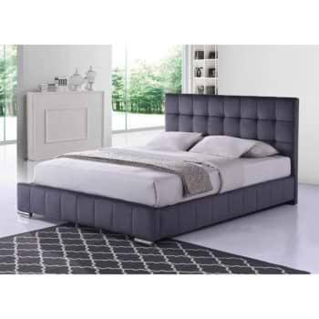 מיטה זוגית 180×200 מרופדת בד קטיפתי אפור דגם פטסי