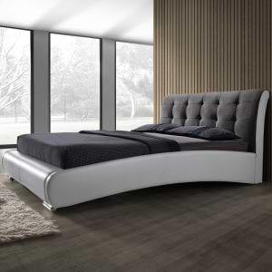 מיטה זוגית מרופדת 160×200 עם שילוב 2 צבעים ובעיצוב יוקרתי דגם שריל