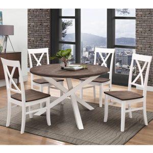 פינת אוכל עגולה מעץ מלא משולב כוללת שולחן ו-4 כסאות דגם שירז