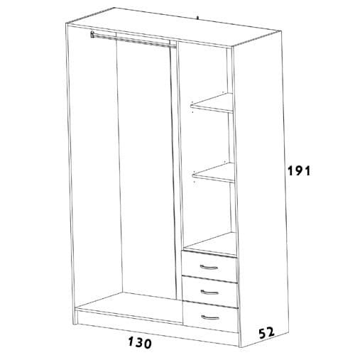 ארון 3 דלתות עם שידת מגירות חיצונית spot-500b-midot