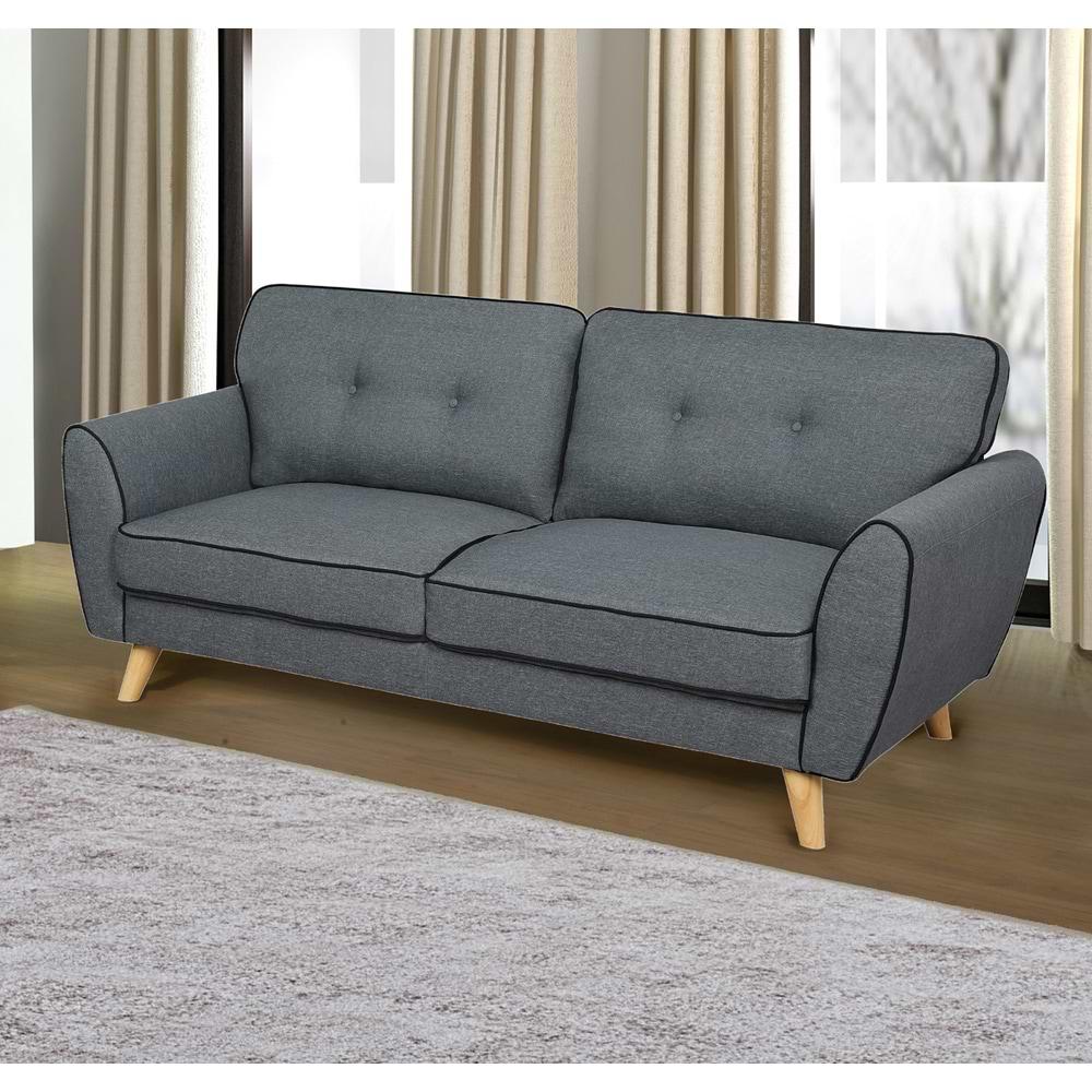 ספה תלת מושבית מעוצבת אפור 3-1000