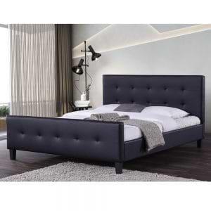 מיטה זוגית מעוצבת 160×200 בריפוד דמוי עור דגם קייט