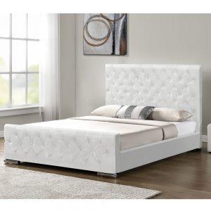 מיטה זוגית מעוצבת 160×200 בריפוד דמוי עור לבן דגם לורד