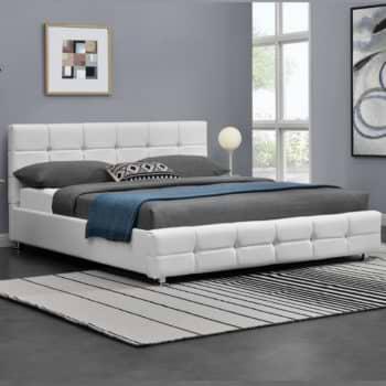 מיטה זוגית 160×190 מעוצבת בריפוד דמוי עור דגם עומר