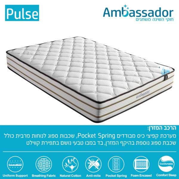 מזרן קפיצים מבודדים למיטת נוער pulse-1200c
