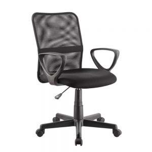 כיסא משרדי עם משענת גב רשת וידיות דגם דביר