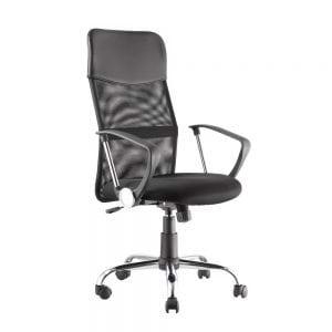 כיסא מנהלים מפואר עם גב רשת וידיות דגם גבע
