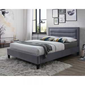 מיטה זוגית 140×190 מרופדת בד קטיפתי דגם פונט