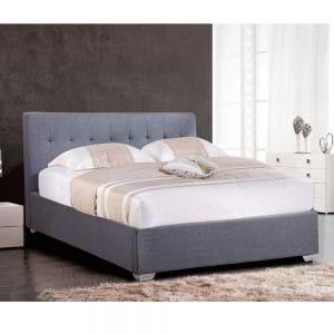 מיטה זוגית מעוצבת 160×200 בריפוד בד עם ארגז מצעים מעץ דגם נועם