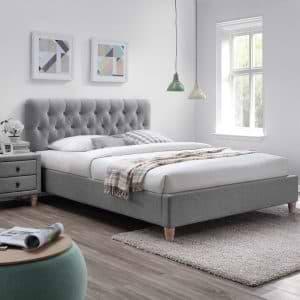 מיטה זוגית 160×200 מרופדת בד עם 2 שידות לילה תואמות דגם רוקסן