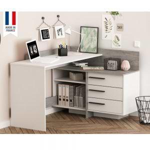 עמדת עבודה פינתית עם שולחן כתיבה מדפים ומגירות תוצרת צרפת דגם טליס