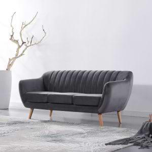 ספה תלת מושבית בעיצוב רטרו עם ריפוד בד קטיפה אפור כהה דגם רותם