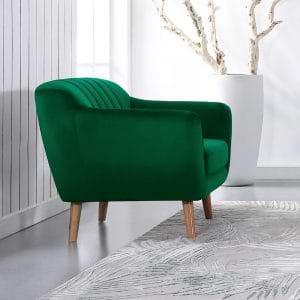 כורסא מעוצבת בעיצוב רטרו עם ריפוד בד קטיפה ירוק דגם רותם