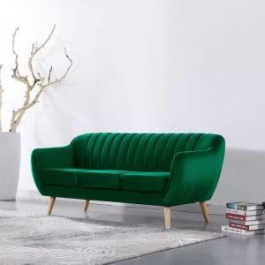 ספה תלת מושבית בעיצוב רטרו עם ריפוד בד קטיפה ירוק דגם רותם