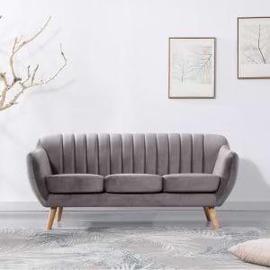 ספה תלת מושבית בעיצוב רטרו עם ריפוד בד קטיפה אפור בהיר דגם רותם