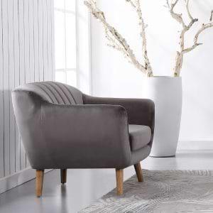 כורסא מעוצבת בעיצוב רטרו עם ריפוד בד קטיפה אפור דגם רותם