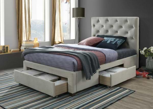 מיטה זוגית מרופדת עם 3 מגירות אחסון topaz-1000a