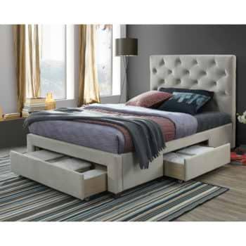 מיטה רחבה לנוער 120×190 מרופדת בד קטיפה עם 3 מגירות אחסון דגם טופז 120