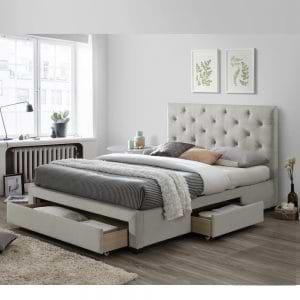 מיטה זוגית 140×190 מרופדת בד קטיפה עם 3 מגירות אחסון דגם טופז